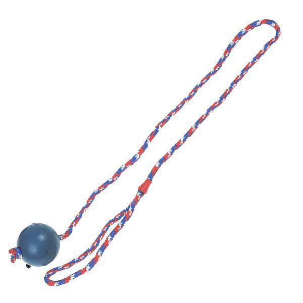 Flamingo Ball With Rope ФЛАМИНГО игрушка для собак, мяч из литой резины на веревке 7 см