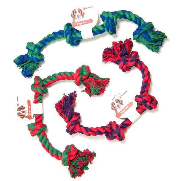 Flamingo (ФЛАМИНГО) COTTON BONE 4KNOTS игрушка для собак веревочная кость, 4 узла 60 см