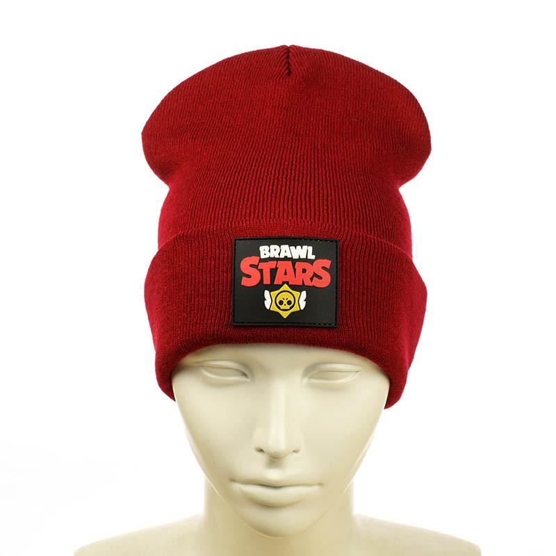 """Шапка с резиновым патчем """"Brawl Stars"""" красный"""