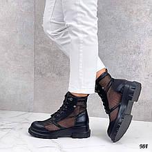 Только 38 р! Женские ботинки черные на шнуровке эко кожа + сетка