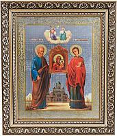 Икона Святые апостол Симон Кананит и великомученик Пантелеимон перед иконой Богородицы «Избавительница»