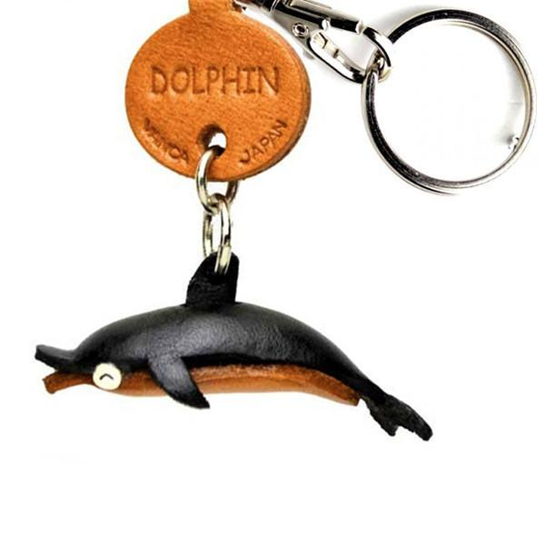 Vanca Dolphin ДЕЛЬФИН 3D брелок на ключи, натуральная кожа 2,5х2,5х1см.