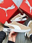 Мужские кроссовки Puma Suede (бежевые) 603TP легкие спортивные кроссы на весну и лето, фото 7