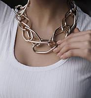 Цепочка с крупными звеньями золотого цвета колье и ожерелье