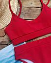 Женский купальник топ рубчик красный, фото 7