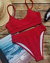 Женский купальник топ рубчик красный, фото 6