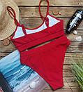 Женский купальник топ рубчик красный, фото 8