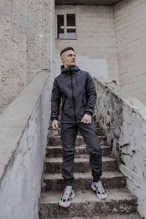 Костюм мужской серый демисезонный Intruder Softshell Easy.Куртка + штаны осенний   весенний   летний, фото 2