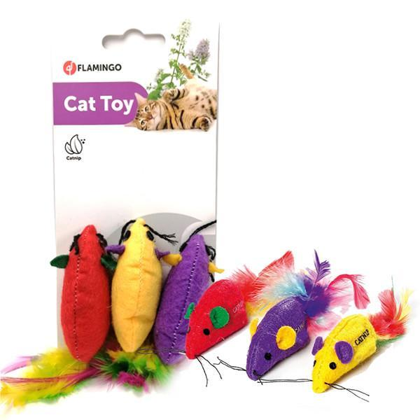 Flamingo SUPERMOUSE мышь c перьями и кошачьей мятой, игрушка для котов 6х2 см