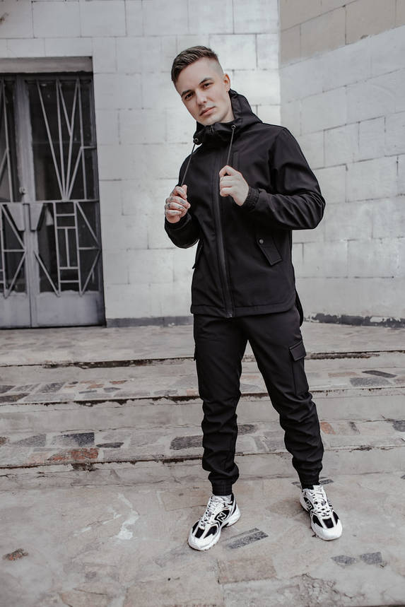Костюм чоловічий чорний демісезонний Intruder Softshell Easy Куртка + штани осінній   весняний   летни, фото 2