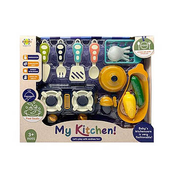 Набір посуд: плита,посуд,продукти,кух. аксесуари,у кор-ці,37х30,5х6,5см №RM8203-3(12)