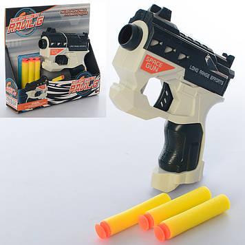 Пістолет 13см,м'яка які кулі-присоски 3шт,у кор-ці,20х19х5см №826-35(72)