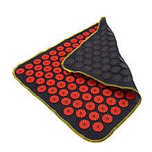 Килимок масажний Аплікатор Кузнєцова (для спини, ніг) OSPORT Їжачок 188 (apl-004) Чорно-червоний