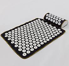 Набір килимок акупунктурний масажний + подушка Аплікатор Кузнєцова OSPORT (n-0002) Чорно-білий