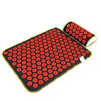 Набор коврик акупунктурный массажный + подушка Аппликатор Кузнецова OSPORT (n-0002) Черно-красный
