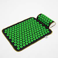Набор коврик акупунктурный массажный + подушка Аппликатор Кузнецова OSPORT (n-0002) Черно-салатовый
