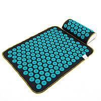 Набор коврик акупунктурный массажный + подушка Аппликатор Кузнецова OSPORT (n-0002) Черно-бирюзовый
