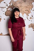 Костюм медицинский женский Сабрина (батист, бордовый, р.48-64) Мария, фото 1