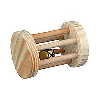 Іграшка для гризунів Trixie Валик з брязкальцем 7 см / d = 5 см (дерево)