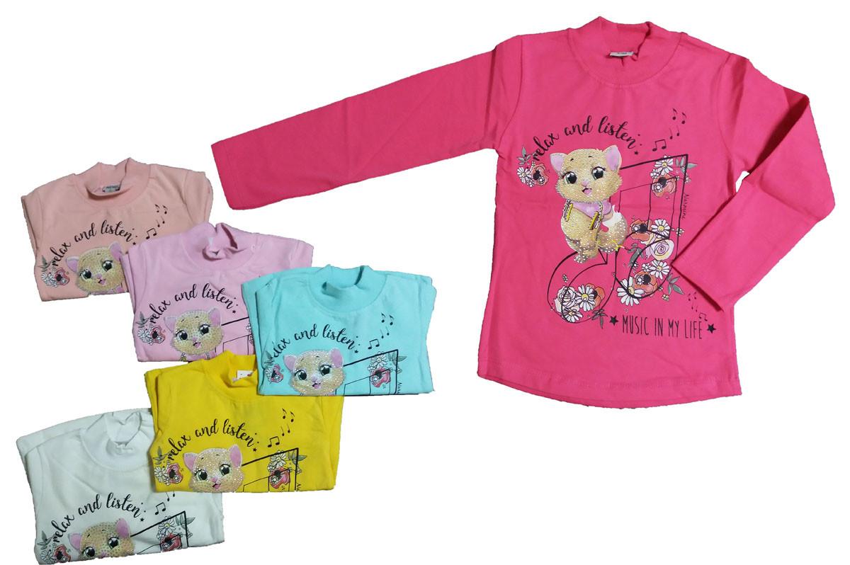 Свитшот  с длинным рукавом  утепленный для девочки, рисунок Кошечка, Narmini (размер 1(86))