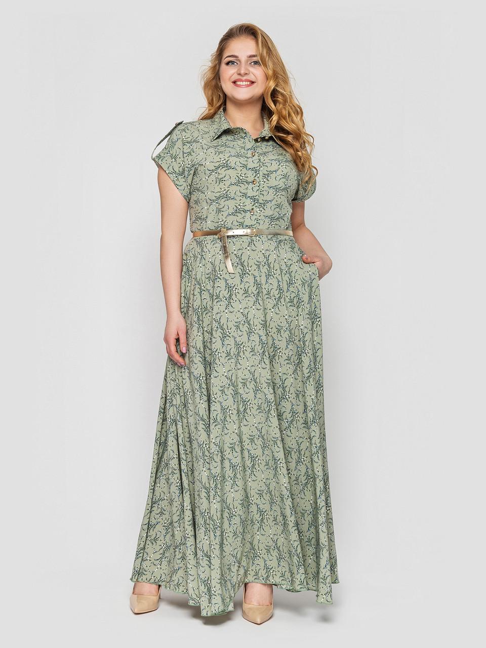 Розкішне плаття максі в підлогу Олена Оливка Великі Розміри 48, 50, 52, 54, 56