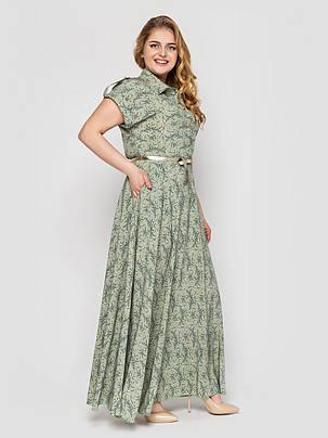 Розкішне плаття максі в підлогу Олена Оливка Великі Розміри 48, 50, 52, 54, 56, фото 2