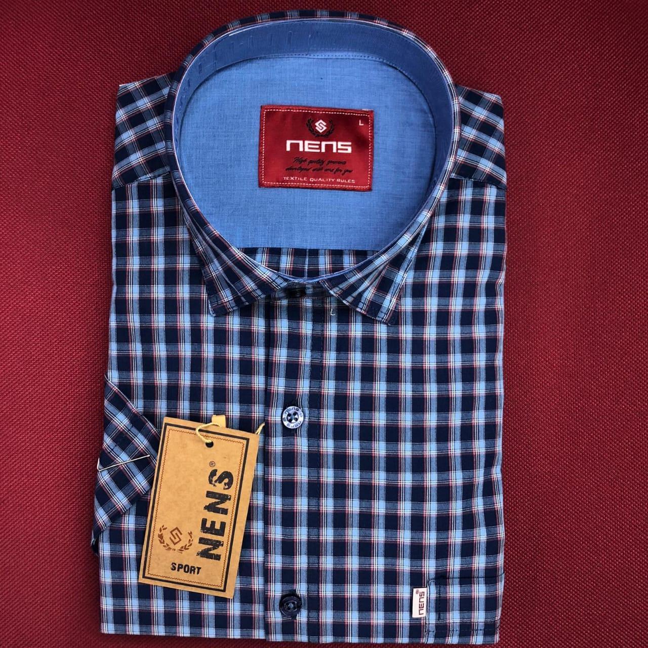 Котонова сорочка з коротким рукавом Nens в клітку
