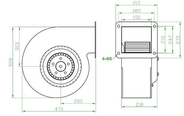 Вентилятор центробежный (радиальный) малый (2470 м³/ч)