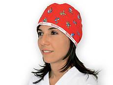 Шапочка медицинская хирургическая хлопковая унисекс с принтом на завязках красная Gima, Италия