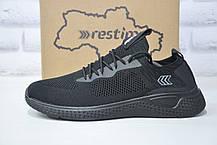 Мужские летние кроссовки черные сетка Restime большие размеры:46-48