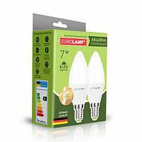 "Промо-набір EUROLAMP LED ЕКО Свічка 7W E14 4000K акція ""1+1"""