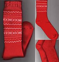Тёплые женские высокие носки - гольфы махра внутри с орнаментом  ГЗ-9