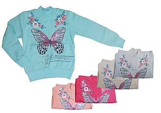 Свитшот  с длинным рукавом  утепленный для девочки, рисунок Бабочка с пайетками, Narmini (размер 2(92))