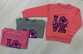 Свитшот  с длинным рукавом  утепленный для девочки, надпись  Love с пайетками, Narmini (размер 3(98))