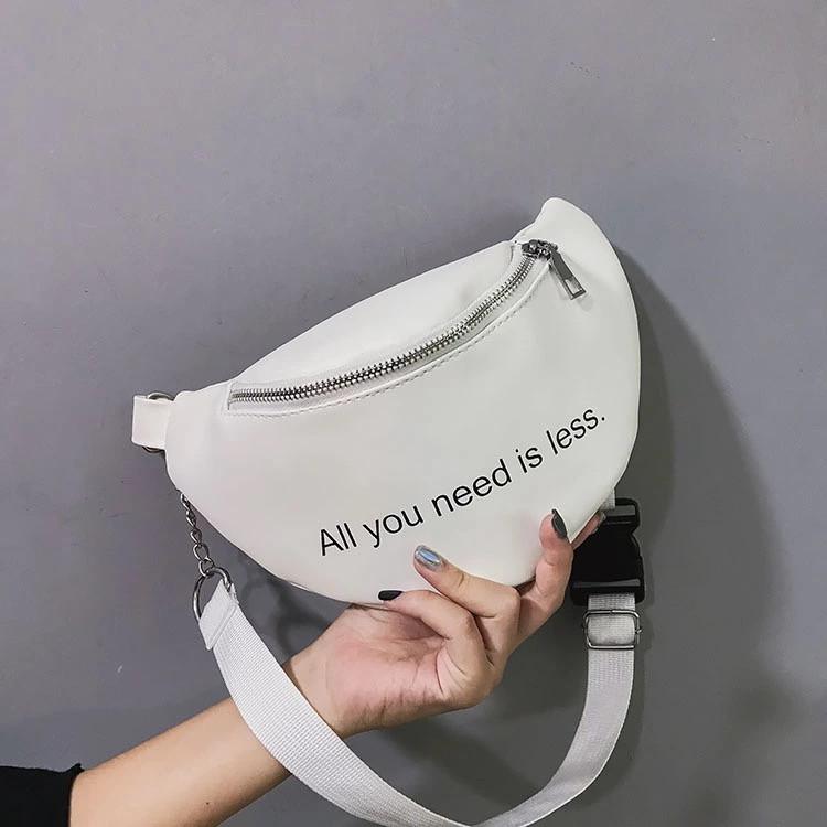 Женская бананка классическая поясная сумочка через плечо All you need is less белая