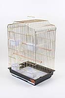 Золотая клетка для мелких и средних попугаев с плотными прутьями 607
