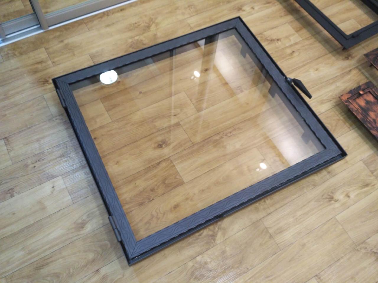 Большая дверца для камина со стеклом Hetta Neo h670/880мм