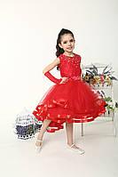 Красное нарядное платье  с ассиметричным низом для девочек