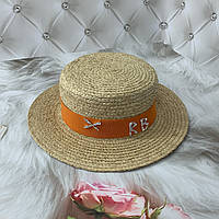 Летняя соломенная шляпа канотье из рафия RB с оранжевой лентой