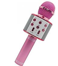Микрофон WS858 Lux 23 см, аккумулятор Bluetooth, TFслот, USB зарядное, регулятор громкости. Розовый