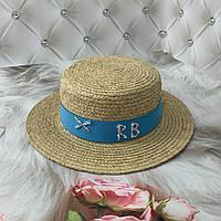 Летняя соломенная шляпа канотье из рафия RB с голубой лентой