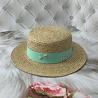 Летняя соломенная шляпа канотье из рафия RB с мятной лентой