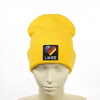 """Шапка з гумовим патчем """"Likee"""" жовтий"""
