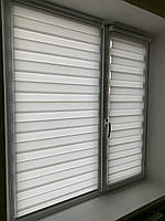 Рулонные шторы день ночь красивая ткань BH 102 white