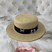 Летняя соломенная шляпа канотье из рафия RB с черной лентой