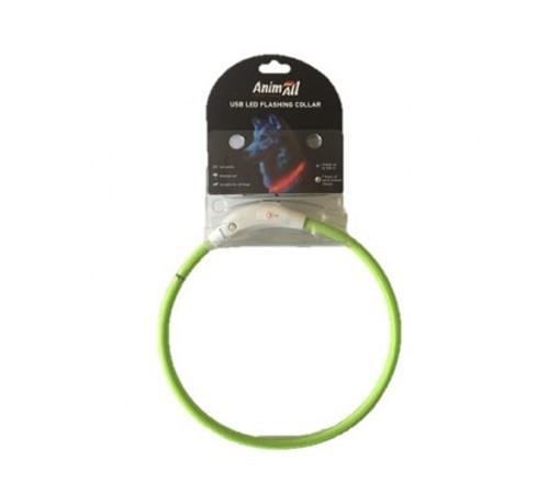 LED-нашийник AnimAll для собак (з підзарядкою USB) 50см салатовий