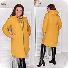 """Стильна і функціональна жіноча куртка-плащ із плащової тканини """"канада"""". р. 48-50,52-54,56-58,60-62 код 3322Ф"""