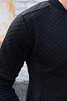 Чоловіча кофта бомбер Ромбик, чорного кольору на блискавці без капюшона, фото 3