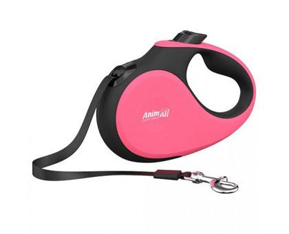 Поводок-рулетка AnimAll Deluxe для собак вагою до 25 кг, 5 м, M кораловий-чорний, Енімал