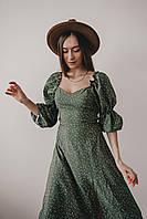 Женское платье в горошек с рукавами фонариками